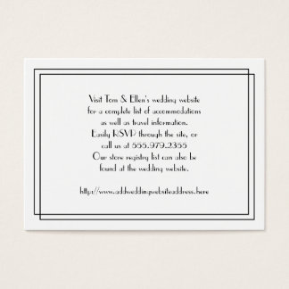 Black and White Floral Wedding Website Enclosure Business Card