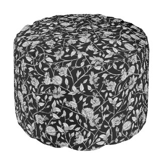 Black and White Floral with Bird Nests Pouf