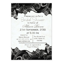 black and white florals spring Bridal shower Card
