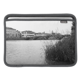 Black and White Florence River Arno MacBook Sleeve