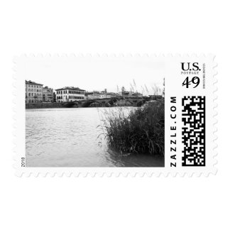 Black and White Florence River Arno Postage
