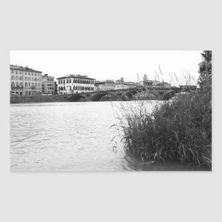 Black and White Florence River Arno Rectangular Sticker