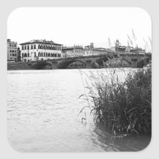 Black and White Florence River Arno Square Sticker
