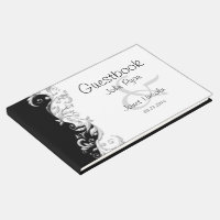Black and White Florid Ornate Satin Guestbook