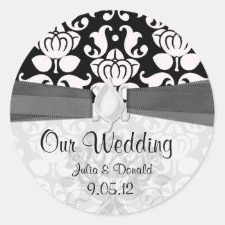 black and white flourish damask wedding classic round sticker