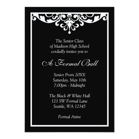 Black and White Flourish Formal Prom Dance Ball Card