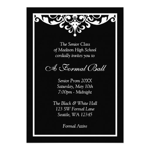 Marvelous Black And White Flourish Formal Prom Dance Ball Custom Announcement Regard To Prom Invitation Templates