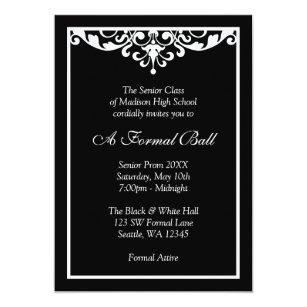 Formal school dance invitations zazzle black and white flourish formal prom dance ball invitation stopboris Image collections