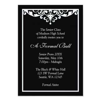 Black and White Flourish Formal Prom Dance Ball Custom Announcement