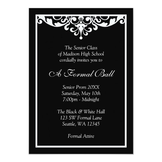 Black and white flourish formal prom dance ball invitation zazzle black and white flourish formal prom dance ball invitation stopboris Gallery