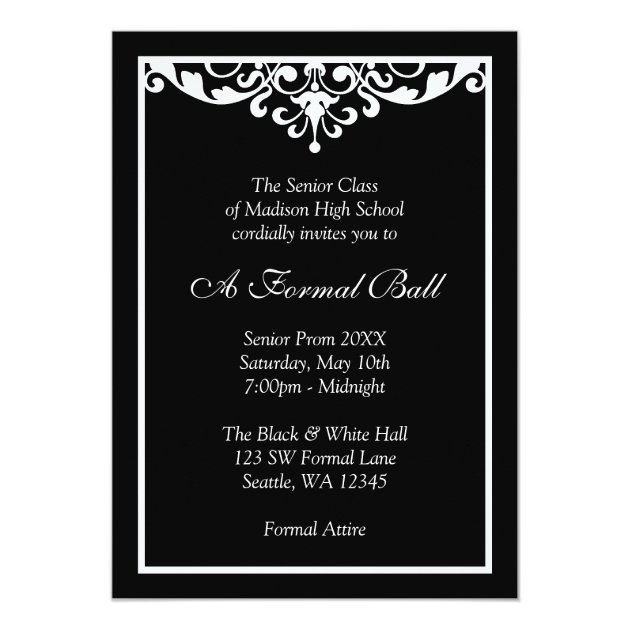 Black And White Flourish Formal Prom Dance Ball Invitation Zazzle Com