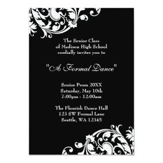 "Black and White Flourish Prom Formal Invitations 5"" X 7"" Invitation Card"