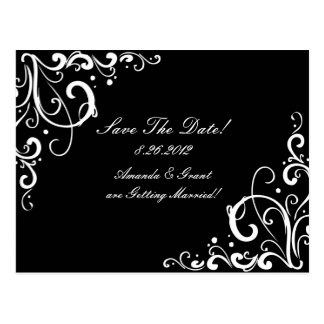 Black and White Flourish Save The Date Postcard