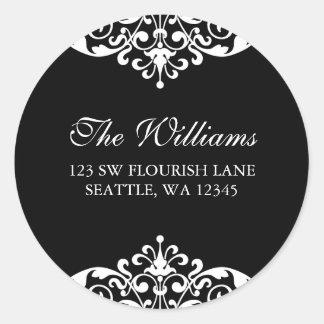 Black and White Flourish Scroll Address Label Classic Round Sticker