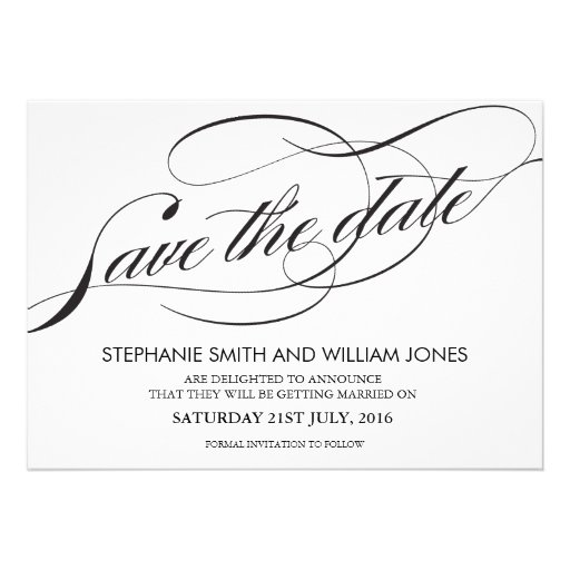 Black and White Flourish Swirl Save The Date Custom Invites