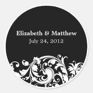 Black and White Flourish Swirl Wedding Favor Label