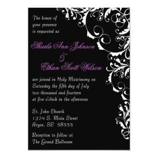 "Black and White Flourish Wedding Invitation 5"" X 7"" Invitation Card"