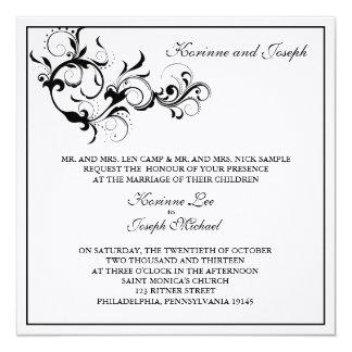 """Black and White Flourish Wedding Invitation 5.25"""" Square Invitation Card"""