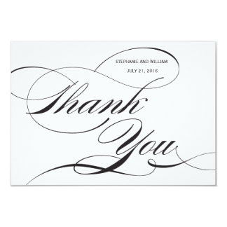 Black and White Flourish Wedding Thank You Card