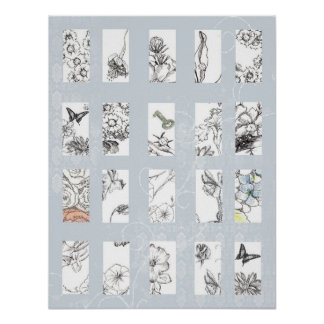 Black and White Flower Art Drawing Collage Gray Poster