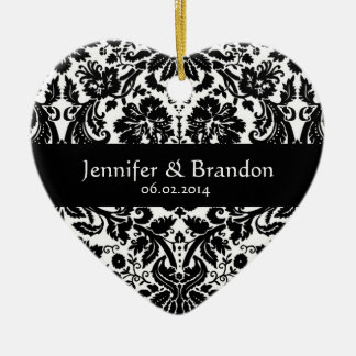Black and White Flower Damask Wedding Ornament