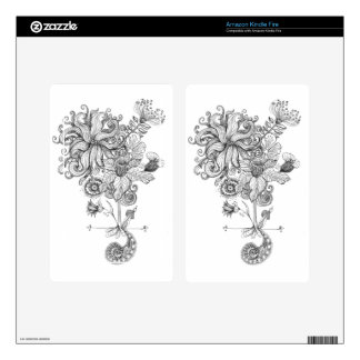 black and white flower drawing skins for kindle fire
