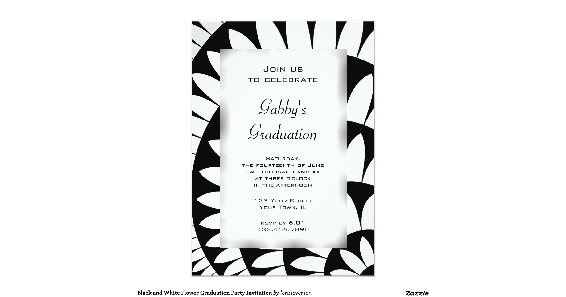 black_and_white_flower_graduation_party_invitation