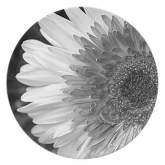Black and White Flower Melamine Plate