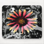 Black and White Flower Mouse Pad