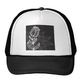 Black and White Flower Outline Trucker Hats