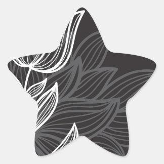 Black and White Flower Outline Star Sticker