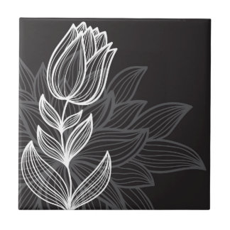 Black and White Flower Outline Ceramic Tiles