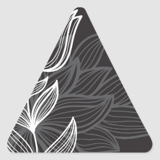 Black and White Flower Outline Triangle Sticker