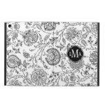 Black and White Flower Pattern Monogram iPad Air Cases