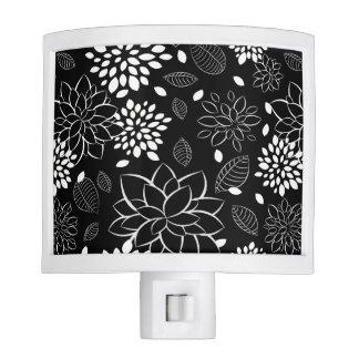 Black and White Flower Pattern Night Light