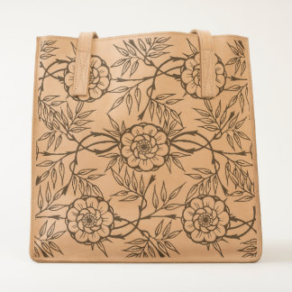 Black and White Flower Pattern Tote