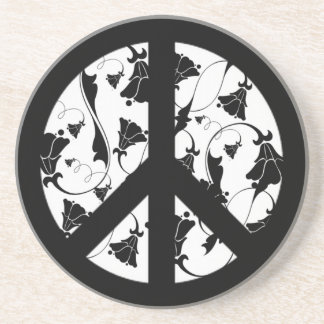 Black and White Flower Peace Symbol Coaster
