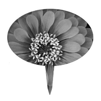 Black and White Flower Photo Cake Toppers