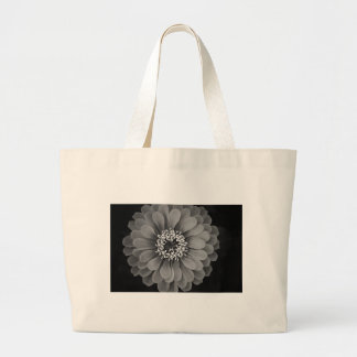 Black and White Flower Photo Large Tote Bag