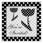 Black and White Flower Polka Dots Invites
