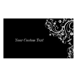 Black and White Flower Scroll Double-Sided Standard Business Cards (Pack Of 100)