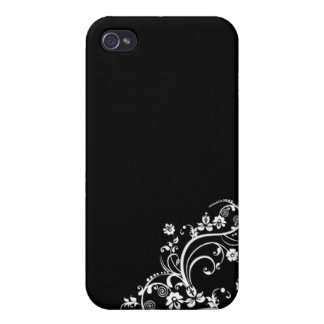 black and white flower Scroll Design iPhone 4 Covers