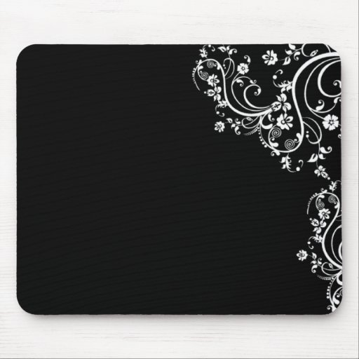 black and white flower scroll mouse pad