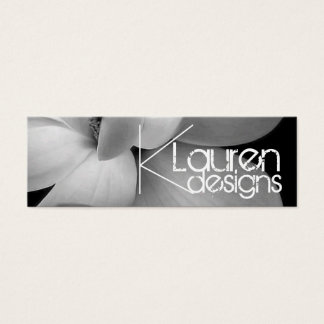 black and white flower skinny business card