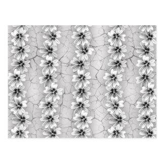 Black And White Flower Stripes Post Card