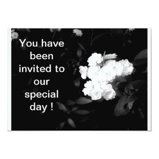 black and white flower wedding card