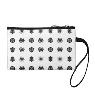Black and white flowers coin wallet