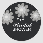Black And White Flowers Bridal Shower Favors Seals Classic Round Sticker