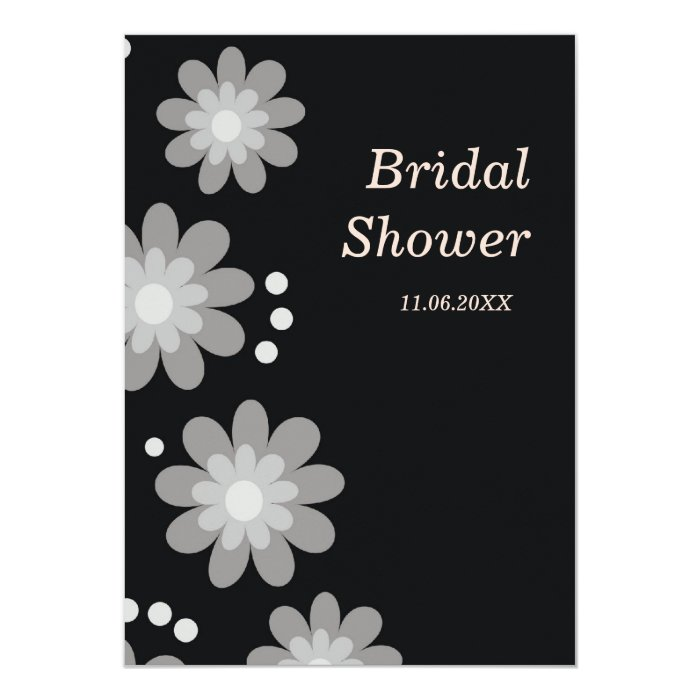 Black and white flowers bridal shower invitations zazzle for Black and white bridal shower invitations