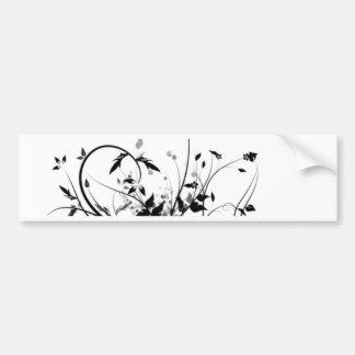 Black And White Flowers Bumper Sticker